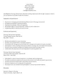 Employment Specialist Resume Sample Resume For Company Nurse Sample Oncology Clinical Nurse