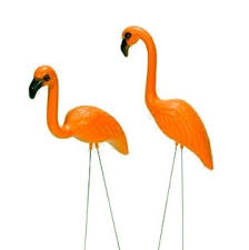 flamingo lawn ornament in burnt orange