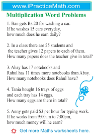 multiplication and division word problems worksheets grade 3