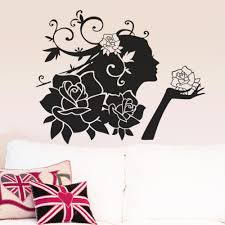 woman flowers wall stickers decals romantic love rose stickers woman flowers wall stickers decals romantic love rose stickers living room wallpaper decoration removable wall applique wall appliques from lin8858