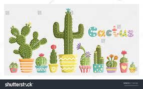 Cute Succulent Pots Set Cacti Pots Different Shapes Colors Stock Vector 211822468