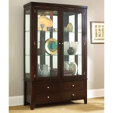 lighted corner curio cabinet mahogany best home furniture decoration