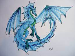 drawn dragon water dragon pencil and in color drawn dragon water