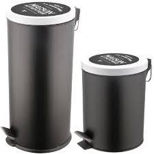 poubelle design cuisine set duo lot 2 poubelles a pédales métal design noir collection