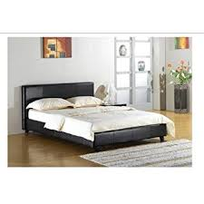 black 4ft small double faux leather bed frame amazon co uk