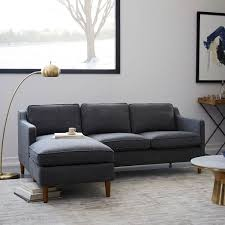 blue sectional sofa with chaise hamilton 2 piece chaise sectional west elm