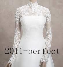 Wedding Dress Jackets High Neck Long Sleeve Bridal Jacket Bolero Custom Sheer Lace