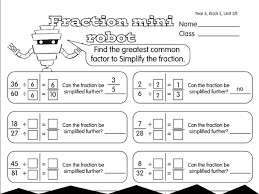 fraction reducing robot a year 6 fractions worksheet