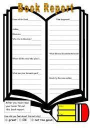 english teaching worksheets book report