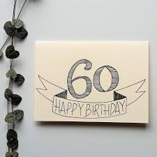 60th birthday card a6 hand drawn birthday card