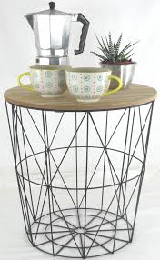 wire and wood basket side table retro side table loft style metal wire basket wooden lift off