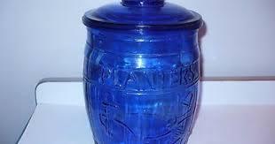 cobalt blue kitchen canisters vintage planters mr peanut cobalt blue glass cookie jar