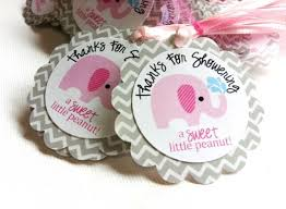 party favor labels peanut pink elephant favor tag in chevron for baby shower