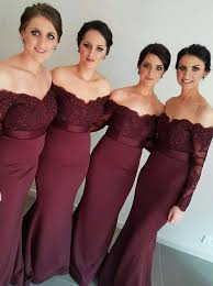 new arrival off the shoulder wine red trumpet mermaid bridesmaid