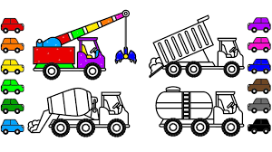 learn colors with construction truck and car coloring pages video
