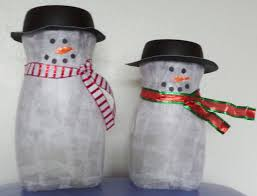 made these snowmen out of tissue paper covered nescafe jars for a