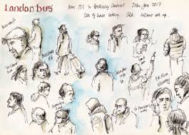 london bus sketches drawing the street