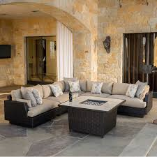 Costco Outdoor Furniture With Fire Pit by Portofino Comfort 6 Piece Modular Set With Fire In Espresso