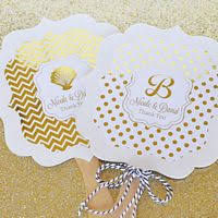 fan favors personalized metallic foil wedding paddle fans