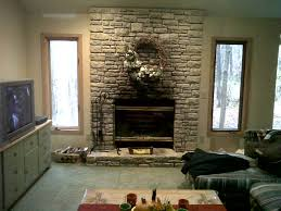 stacked stone fireplace freestanding rustic faux brick siding
