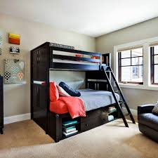 modern teen bedroom design with inexpensive dormitory stair bunk