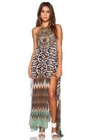 camilla sheer overlay maxi dress in eyasi stillness revolve