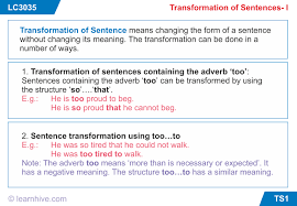 learnhive icse grade 9 english transformation of sentences