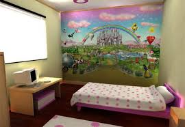 Wallpaper Borders For Girls Bedroom Kids Wall Murals Diy Mountain Mural Via Kids Bathroom Ideas For