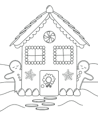 gingerbread house coloring pages printable blank free snowflake