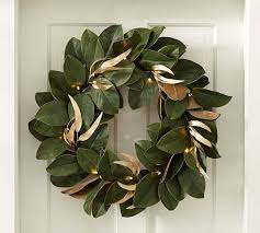 lit magnolia wreath pottery barn