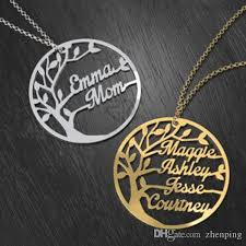 stainless steel name necklace images Wholesale custom family tree cutout name necklace stainless steel jpg