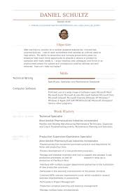 Pharmaceutical Resume Samples by Technical Specialist Resume Samples Visualcv Resume Samples Database