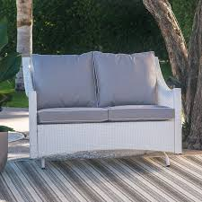 belham living lindau all weather wicker patio loveseat glider with