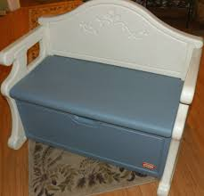 vintage little tikes child full size blue victorian bench toy box
