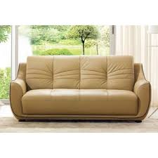 Artificial Leather Sofa Luca Home Beige Brown Italian Leather Sofa Free Shipping Today