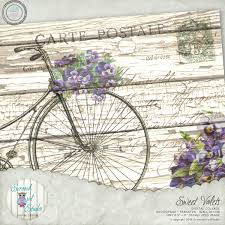 shabby chic digital collage vintage bicycle french postcard