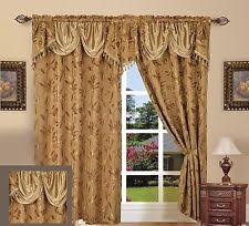 Jacquard Curtain Luxury Dallas Jacquard Panel With Attached Valance 120 X 84 18 Ebay