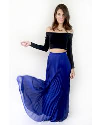 maxi skirt blue pleated maxi skirt
