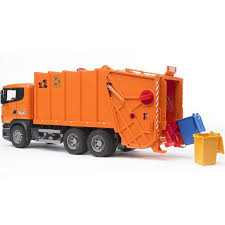 bruder toys bruder scania r series orange toy garbage truck educational toys