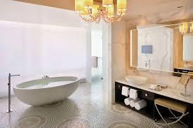 Oval White Stone Standing Bathtub And Espresso Wooden Bathroom
