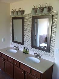 backsplash tile ideas for bathroom bathroom upgrade with mixed glass and metal tile backsplash