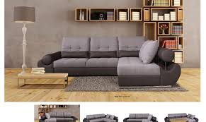 grey fabric modern living room sectional sofa w wooden legs esf talia modern grey fabric leather sectional sofa w sleeper rhc