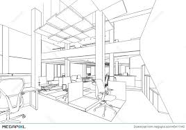 outline sketch of a interior office area illustration 43411142