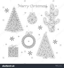 set christmas contour silhouettes decoration template stock vector
