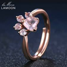 pink star diamond ring lamoon bear u0027s paw 5mm 100 natural pink rose quartz ring 925