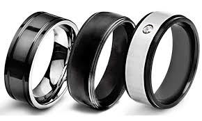 titanium wedding rings review men s black plated stainless steel or titanium wedding bands groupon