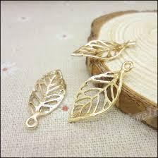 diy necklace charms images Wholesale 50pcs kc gold color charms leaves pendant fit bracelets jpg