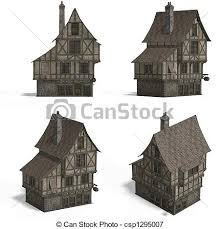old fashioned house medieval houses bar four views of an old fashioned house stock