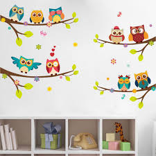 cartoon forest animal owls tree swing nursery wall stickers wall