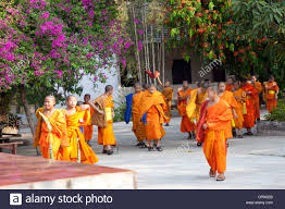 at luang prabang laos exit of novice monks from their buddhist